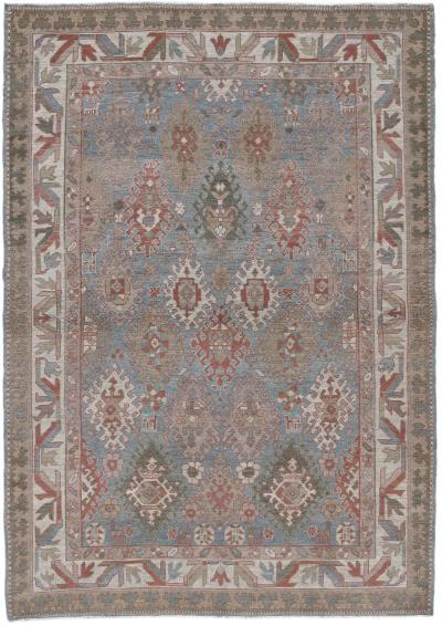 NASIRI Persian Kurdish Hand Knotted Rug in Pale Blue Camel and Ivory Colors
