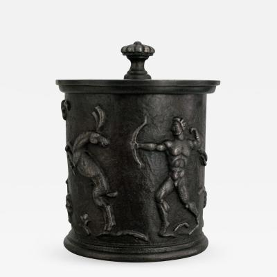 Nafveqvarns Bruk SCANDINAVIAN MODERN CAST IRON JAR WITH LID BY CARL ELMBERG FOR N FVEQVARNS BRUK