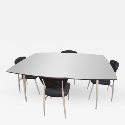 Nambe Aluminum Glass Dining Table with Matching Chairs in Black Suede by Namb