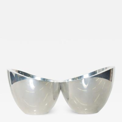 Nambe Neil Cohen Sculptural Silver NAMBE Petite Pair Modern Chic Condiment Bowls