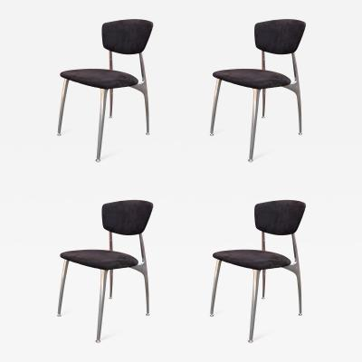 Nambe Set of Four Polished Aluminium and Suede Dining Chairs by Namb