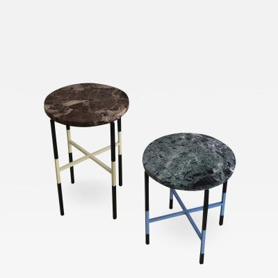 Nero 2 Italian side tables with marble tops