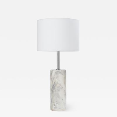 Nessen Studios Arabescato Marble Nickel Table Lamp by Walter von Nessen for Nessen Lamps