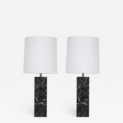 Nessen Studios Nessen Studio Marble Table Lamps in Black Marble