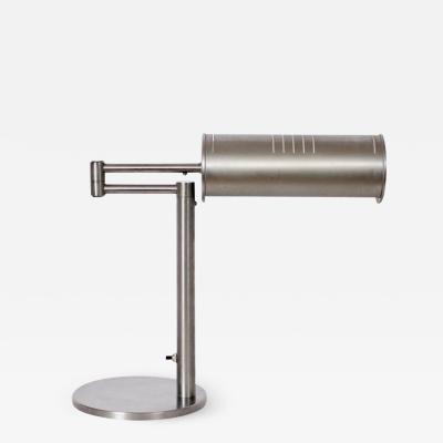 Nessen Studios Nessen Studios Brushed Steel Swing Arm Desk Lamp 1960s