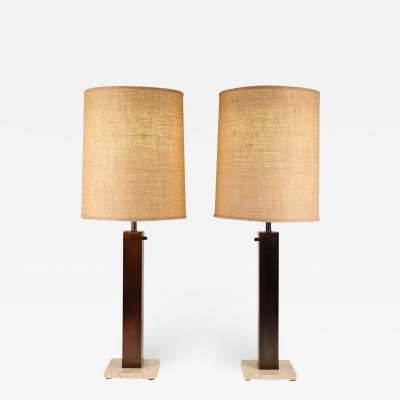 Nessen Studios Pair of 1960s Oil Rubbed Bronze and Travertine Table Lamps by Nessen