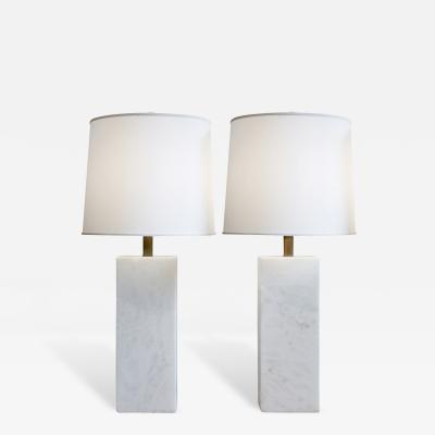 Nessen Studios Pair of Large White Marble Block Table Lamps 1950s