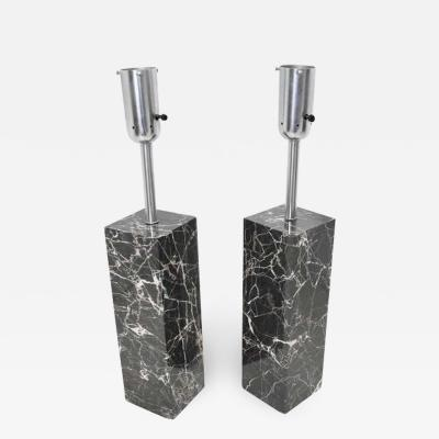 Nessen Studios Pair of Marble Table Lamps by Nessen Studio