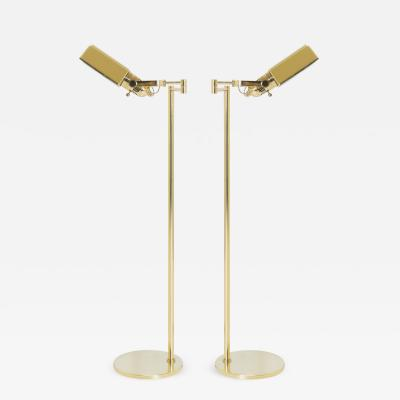 Nessen Studios Polished Brass Reading Lamps by Nessen Pair