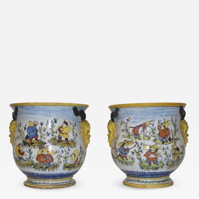 Nevers 1870s French Pair of Yellow Blue Green Red White Majolica Jardini res Planters