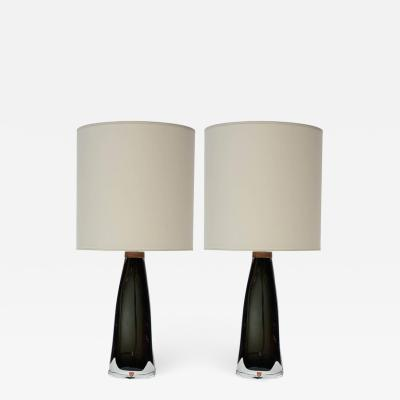 Nils Landberg Pair of Crystal Table Lamps by Nils Landberg for Orrefors