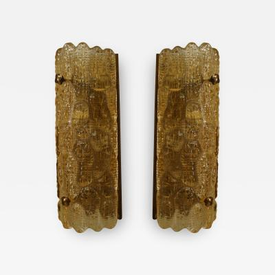 Nils Landberg Pair of Swedish Mid 20th Cent Crocodile Textured Amber Glass Wall Sconces