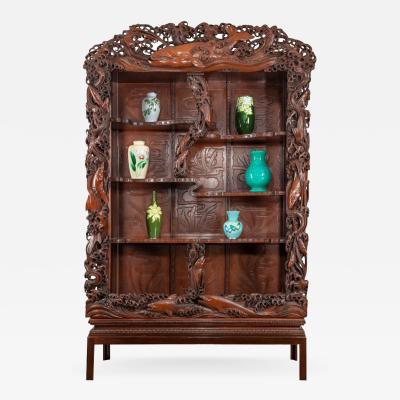 Noguchi of Yokohama A superb Meiji period hard wood display cabinet by Noguchi of Yokahama