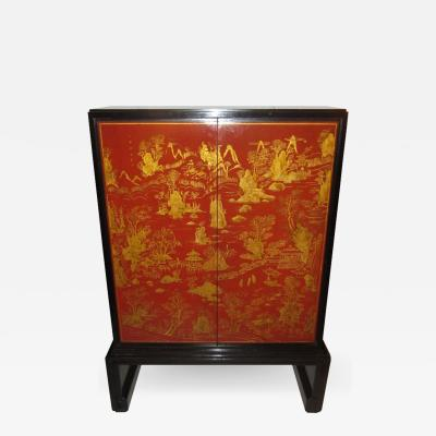 Nordiska Kompaniet Exquisite Lacquered Chinoiserie Cabinet by Nordiska
