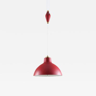 Nordiska Kompaniet Swedish Midcentury Pendant in Perforated Metal with Counterweight by NK
