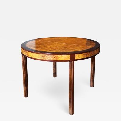 Nordiska Kompaniet Very Fine Art Deco Table in Burl and Birch by Carl Bergsten