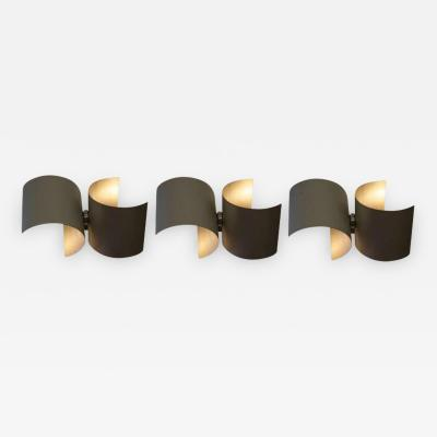 Nucleo Set of Three Wall Lamps in Metal by Nucleo for Sormani Italy 1960s