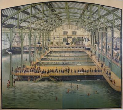 ON SALE Large American Turn of the Century Poster for the Sutro Baths 1896