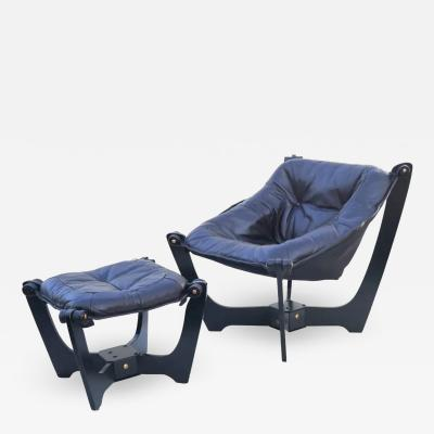 Odd Knutsen Luna Brown Leather Sling Chair with Ottoman Odd Knutsen