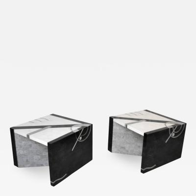 Oggetti Pair of Postmodern Tessellated Stone Side Tables