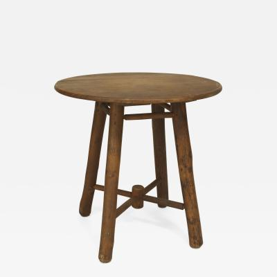 Old Hickory Furniture Co.   American Rustic Old Hickory Round Oak Top End  Table