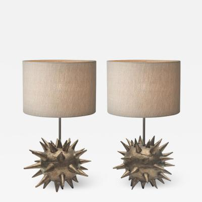 Olivia Barry By Hand Breakabeen Bronze Glazed Ceramic Lamp Pair