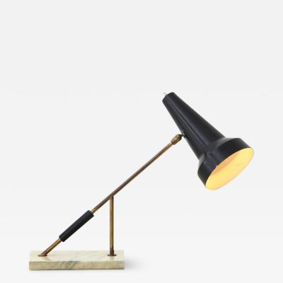 Oluce O Luce 1950s table lamp in brass and painted metal