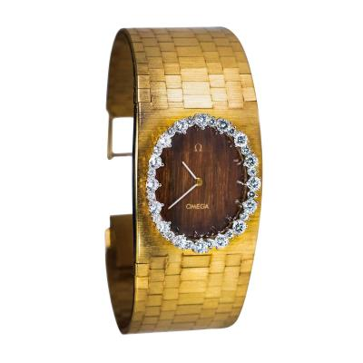 Omega Omega Diamond Set Wood Dial 18 Karat Yellow Gold Bracelet Watch