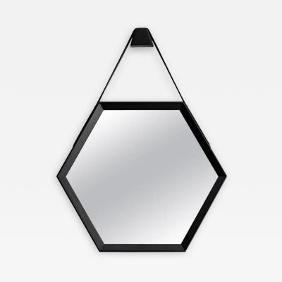 Orange Furniture BEVERLY OAK AND LEATHER HEXAGON MIRROR BY ORANGE LOS ANGELES