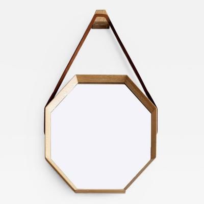 Orange Furniture BEVERLY OAK AND LEATHER OCTAGON MIRROR BY ORANGE LOS ANGELES