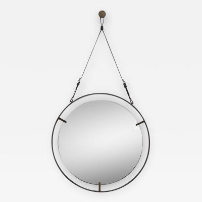 Orange Furniture Circular Metal and Leather Mirror