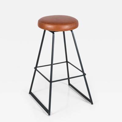 Orange Furniture Leather and Iron Barstool