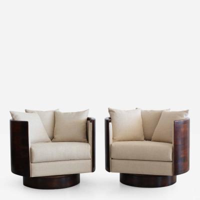 Orange Furniture Pair of Barrel Back Swivel Lounge Chairs by Orange Los Angeles
