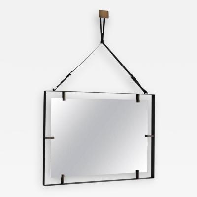 Orange Furniture Rectangular Metal and Leather Mirror