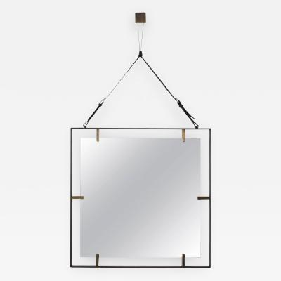 Orange Furniture Square Metal and Leather Mirror