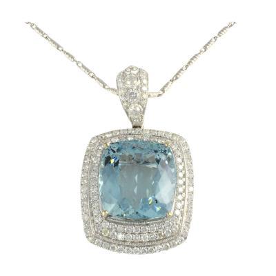 Orianne 26 85 Carat Aquamarine Pendant Enhancer with Diamonds