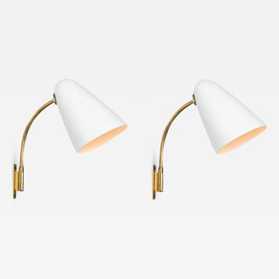 Orno Pair of 1950s Lisa Johansson Pape Model 3054 Wall Lamps for Orno