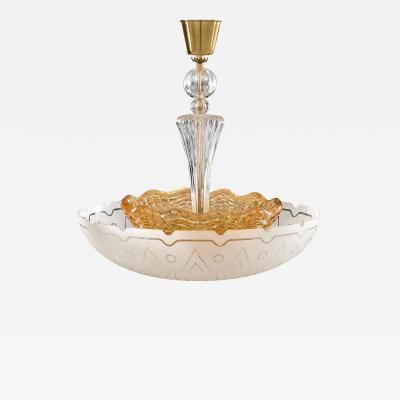 Orrefors 1940s Orrefors Etched Glass Chandelier