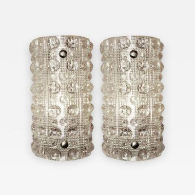 Orrefors Carl Fagerlund Orrefors Convex Dot Crystal Sconces