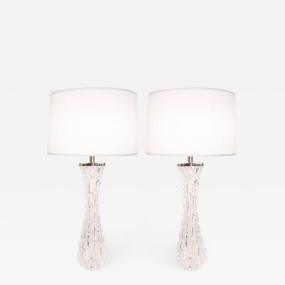 Orrefors Large Croco Relief Crystal Lamps by Carl Fagerlund Orrefors