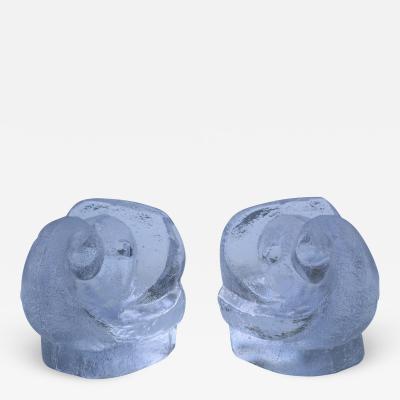 Orrefors Lars Hellsten For Orrefords Art Glass Elephant Bookends