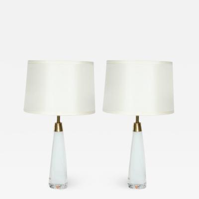 Orrefors Nils Landberg for Orrefors White Crystal Lamps