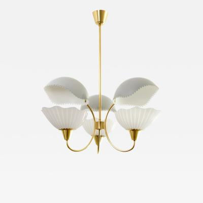 Orrefors Orrefors 3 arm chandelier with etched glass shades metal reflectors Sweden1940