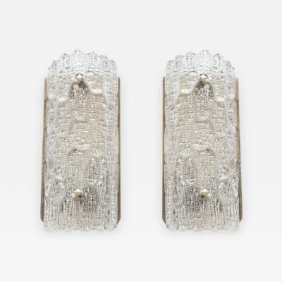 Orrefors Orrefors Croco Embossed Crystal Sconces 1 of 3 pairs