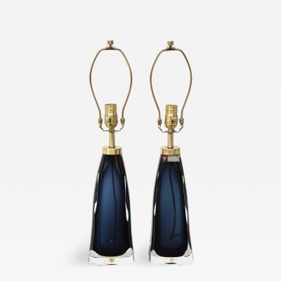 Orrefors Orrefors Deep Sapphire Blue Crystal Lamps