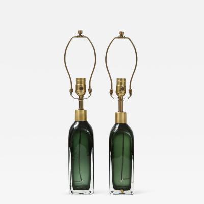 Orrefors Orrefors Forest Green Bottle Form Lamps