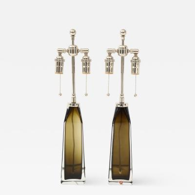 Orrefors Orrefors Pair of Large Olive Crystal Lamps