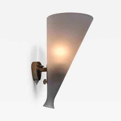 Orrefors Orrefors brass and glass adjustable wall lamp