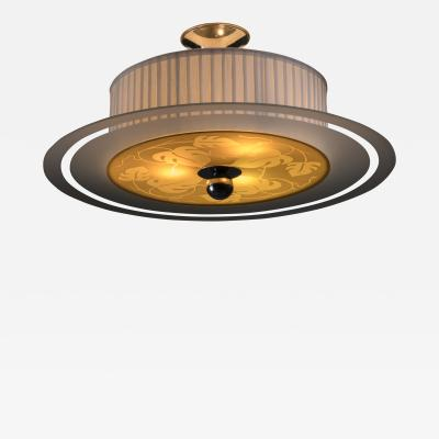 Orrefors Orrefors glass and fabric ceiling lamp