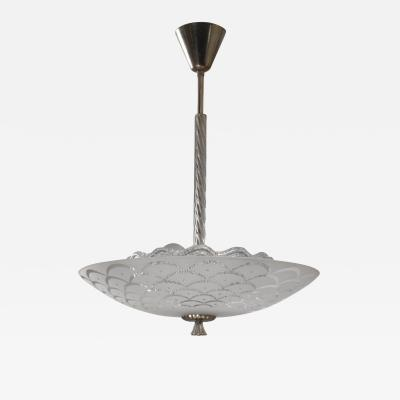 Orrefors Orrefors glass and metal pendant lamp